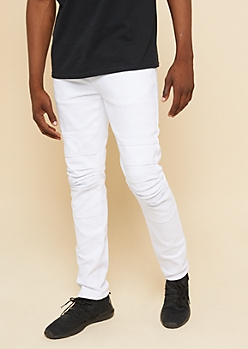 Flex White Knee Seam Skinny Jeans