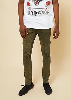 Flex Olive Knee Seam Skinny Jeans