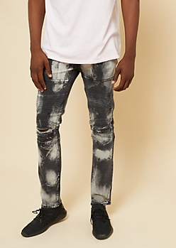 Flex Black Paint Stained Destroyed Moto Skinny Jeans