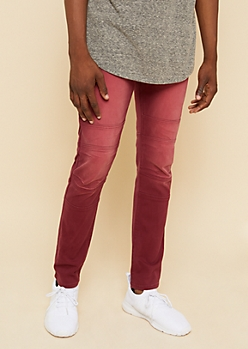 Flex Burgundy Knee Seam Skinny Jeans