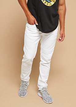 Flex White Stitched Knee Skinny Jeans