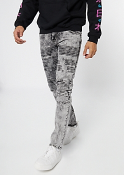 Supreme Flex Gray Acid Wash Moto Skinny Jeans
