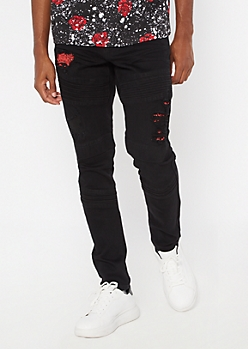 Black Bandana Print Rip And Repair Moto Skinny Jeans