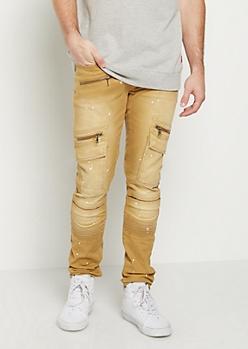 Flex Paint Splattered Moto Skinny Pants