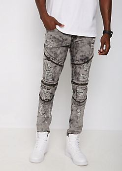 Flex Washed & Ripped Moto Skinny Pants