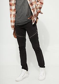 Flex Black Long Zip Moto Skinny Pants