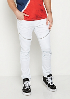 Flex White Split Knee Moto Skinny Pants