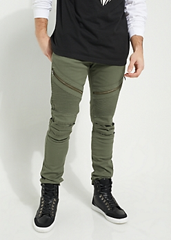 Dark Olive Faux Zip Moto Skinny Pants