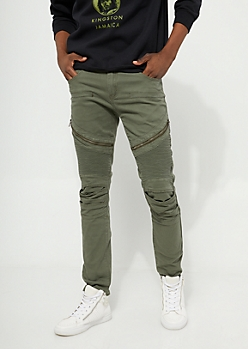 Olive Long Zip Moto Skinny Pants