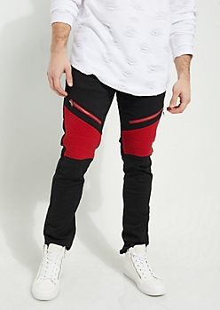 Black Body Red Contrasting Moto Skinny Pants