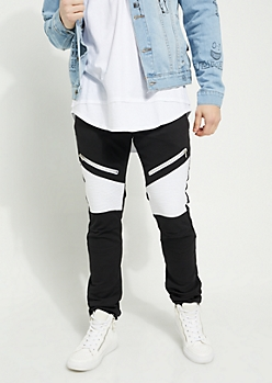Black Body White Contrasting Moto Skinny Pants