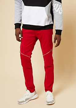 Flex Red Quilted Moto Skinny Jeans