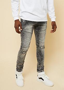 Flex Gray Acid Wash Snowflake Moto Skinny Jeans