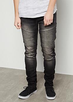 Flex Black Sandblasted Moto Skinny Jeans
