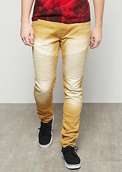 Flex Sand Sandblasted Moto Skinny Jeans