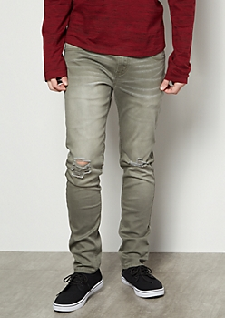 Flex Olive Sandblasted Ripped Knee Skinny Jeans