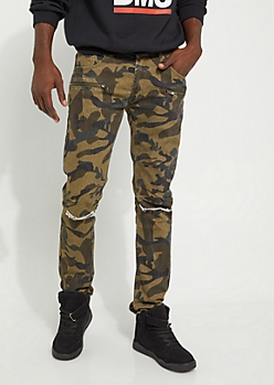 Camo Split Knee Moto Skinny Pants