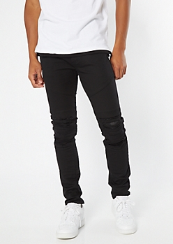Supreme Flex Black Distressed Skinny Twill Pants