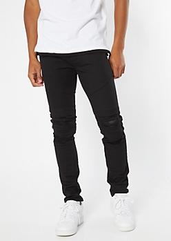 Supreme Flex Black Distressed Skinny Twill Pants