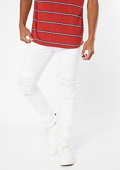 Supreme Flex White Distressed Skinny Twill Pants