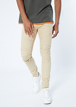 Supreme Flex Khaki Distressed Skinny Twill Pants