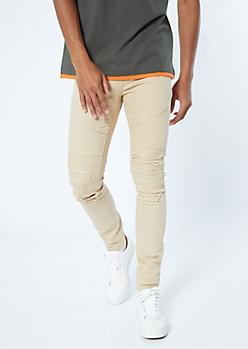 Supreme Flex Khaki Distressed Skinny Twill Pants