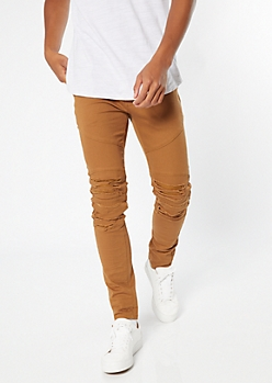 Supreme Flex Camel Distressed Skinny Twill Pants