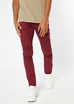 Supreme Flex Burgundy Distressed Skinny Twill Pants