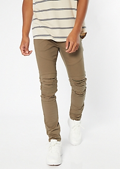 Supreme Flex Olive Distressed Skinny Twill Pants