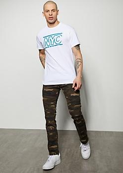 Brown Camo Print Moto Skinny Jeans