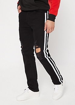 Black Side Striped Blown Knee Skinny Jeans