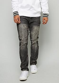 Black Acid Wash Skinny Corduroy Pants