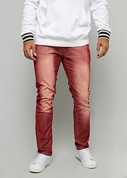 Red Acid Wash Skinny Corduroy Pants