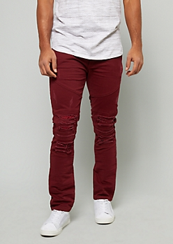 Burgundy Ripped Faux Leather Moto Skinny Pants
