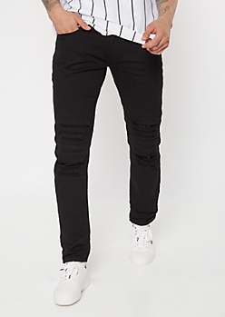 Black Shredded Moto Knee Skinny Jeans