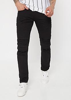 Black Shredded Moto Knee Skinny Jeans