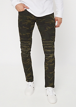 Camo Print Shredded Moto Knee Skinny Jeans