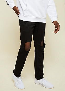 Black Ripped Zipper Ankle Slim Straight Jeans