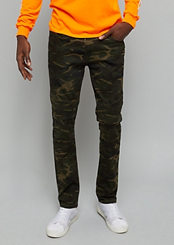 Camo Print Moto Knee Skinny Twill Pants