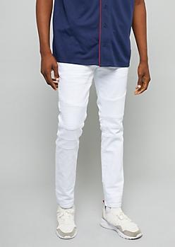 White Slim Skinny Moto Jeans