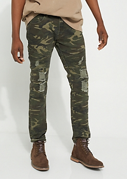 Camo Ripped Moto Jeans