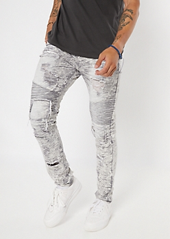 Gray Acid Wash Ripped Moto Skinny Jeans