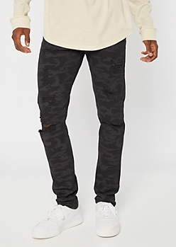 Black Camo Print Distressed Skinny Jeans