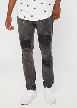 Black Bleached Moto Ripped Skinny Jeans