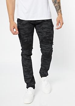 Supreme Flex Black Camo Print Distressed Skinny Jeans