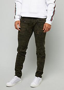 Olive Camo Print Distressed Skinny Moto Jeans