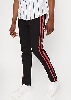 Black Side Striped Skinny Jeans