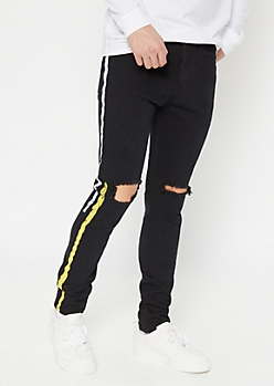 Black Paint Striped Blown Knee Skinny Jeans