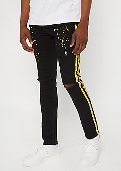 Black Side Striped Paint Splattered Skinny Jeans