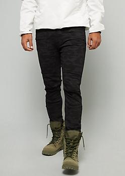 Black Camo Print Ripped Knee Skinny Jeans